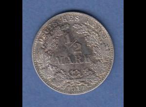 Deutsches Kaiserreich Silber-Kursmünze 1/2 Mark Jahrgang 1917 D