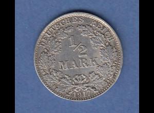 Deutsches Kaiserreich Silber-Kursmünze 1/2 Mark Jahrgang 1917 D ss