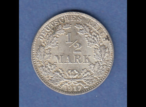 Deutsches Kaiserreich Silber-Kursmünze 1/2 Mark Jahrgang 1917 D vz