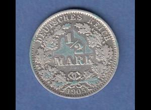 Deutsches Kaiserreich Silber-Kursmünze 1/2 Mark Jahrgang 1905 E