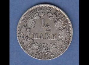 Deutsches Kaiserreich Silber-Kursmünze 1/2 Mark Jahrgang 1911 D vz