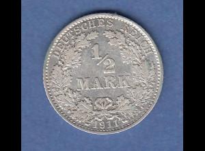 Deutsches Kaiserreich Silber-Kursmünze 1/2 Mark 1911 D fast vz