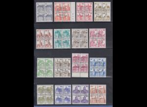 Bund 1977-82 Burgen&Schlösser kpl. Satz 21 Werte Luxus-Viererblocks mit Tages-O