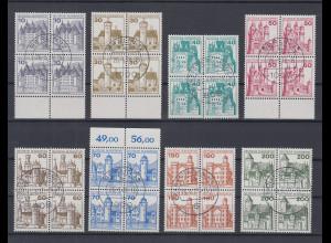 Bund 1977 Burgen&Schlösser kpl. Satz 8 Werte Luxus-Viererblocks mit Tages-O