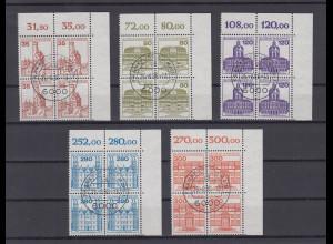 Bund 1982 Burgen&Schlösser kpl. Satz 5 Werte Luxus-ER-Viererblocks mit Tages-O