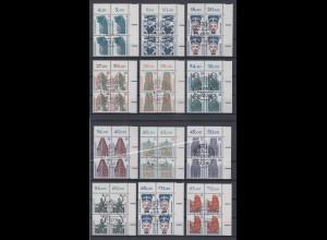 Bund 1987-1990 Sehenswürdigkeiten 20 Luxus-Eckrand-Viererblocks mit Tages-O