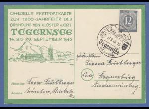 Tegernsee 1200 Jahrfeier 746-1946 Sonderpostkarte mit Sonderstempel