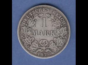 Deutsches Kaiserreich Silber-Kursmünze 1 Mark A 1877