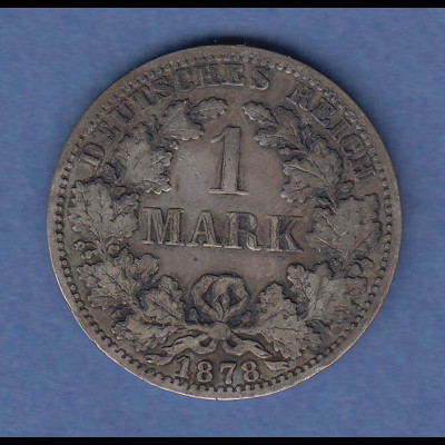 Deutsches Kaiserreich Silber-Kursmünze 1 Mark A 1878