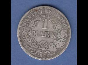 Deutsches Kaiserreich Silber-Kursmünze 1 Mark , F 1878