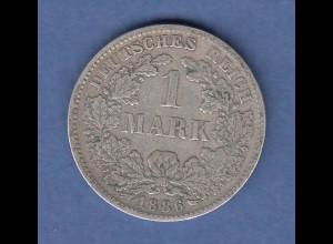 Deutsches Kaiserreich Silber-Kursmünze 1 Mark F 1886