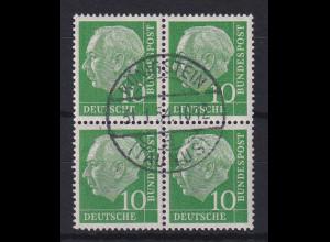 Bund Heuss 10 Pfg. Mi.-Nr. 183 Viererblock gestempelt am ERSSTAG Königstein