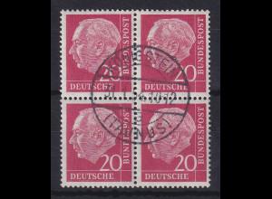 Bund Heuss 20 Pfg. Mi.-Nr. 185 Viererblock gestempelt am ERSSTAG Königstein