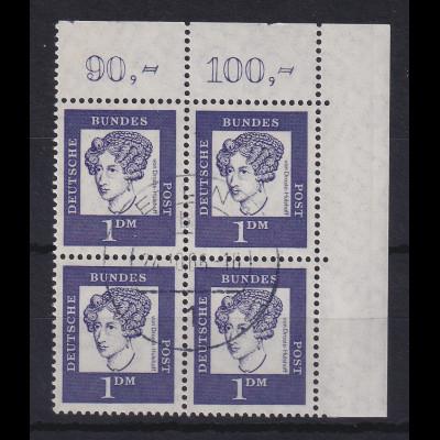 Bund Bed. Deutsche 100Pfg Mi.-Nr. 361y Eckrand-Viererblock OR gest. BERLIN