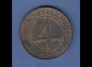 Deutsches Reich Bronze-Münze 4 Reichspfennig 1932 F sog. Brüning-Taler