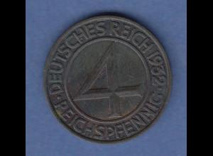 """Deutsches Reich Bronze-Münze 4 Reichspfennig 1932 F sog. """"Brüning-Taler"""""""
