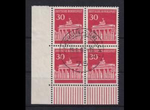 Bund 1966 Brandenburger Tor 30 Pfg Eckrand-Viererblock UL mit O KARLSRUHE