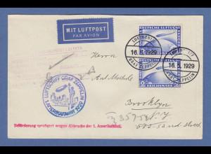 Dt. Reich Zeppelin LZ 127 1. Amerikafahrt 1929 Brief mit MEF Mi.-Nr. 423