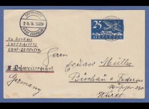 Schweiz Zeppelin LZ 127 3.Schweizfahrt 28.9.1929 Brief mit Bordpoststempel