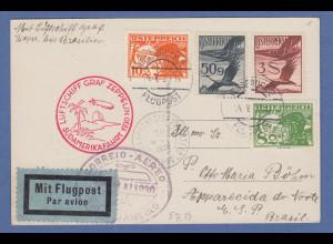 Österreich Zeppelin LZ 127 Südamerikafahrt 14.5.1930 Karte gel. nach Brasilien