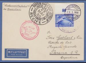 Dt. Reich Zeppelin LZ 127 Südamerikafahrt Mi.-Nr. 438X Oberrandstück auf Karte
