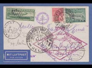 Zeppelin LZ 127 Südamerikafahrt Recife-Friedrichshafen Karte MIF Brasilien-USA !