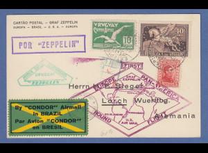 Zeppelin LZ 127 Südamerikafahrt Karte aus Uruguay gel. bis Friedrichshafen