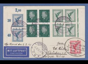 Zeppelin LZ 127 Fahrt Bayerischer Wald 2.7.30 Karte zusätzl. Bahnpost-Beförd. !