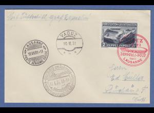 Liechtenstein Zeppelin-Brief nach Lausanne gel. nach Buchau 10.-11.6. 1931 AK-O