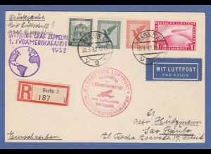 Dt. Reich Zeppelin LZ 127 1. Südamerikafahrt 1932 Einschreibe-Karte -> Brasilien