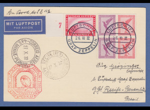 Dt. Reich Zeppelin LZ 127 9. Südamerikafahrt 1932 Bordpostkarte nach Recife