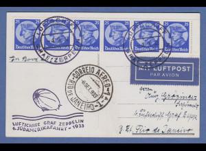 Dt. Reich Zeppelin LZ 127 6. Südamerikafahrt 1933 Bordpost nach Rio de Janeiro