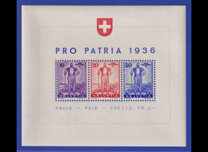 Schweiz 1936 Blockausgabe PRO PATRIA Mi.-Nr. Block 2 ** einwandfreie Qualität.