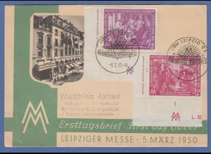 DDR 1950 Mi.-Nr. 248-49 DZ Eckrandstücke mit Druckerzeichen auf FDC