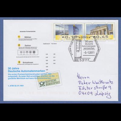 """Sonder-Ganzsache """"30 Jahre Deutsche Automatenmarken"""" mit So-O BONN 3.1.2011 A"""
