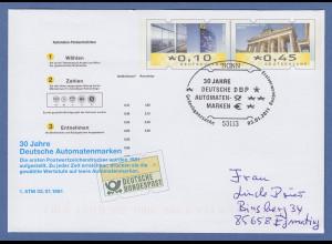 """Sonder-Ganzsache """"30 Jahre Deutsche Automatenmarken"""" mit So-O BONN 3.1.2011 B"""