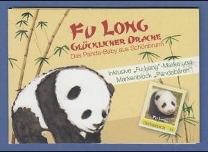 Österreich Meine Marke Panda-Baby Fu Long Wert 0,55 und Panda-Block ** im Folder