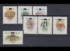 Tonga Meerestiere Dienstmarken Mi.-Nr. 237-243 kpl. Satz 7 Werte **