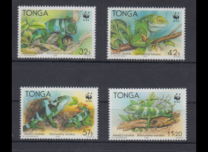 Tonga WWF Kurzkammleguan Mi.-Nr. 1140-1143 kpl. Satz 4 Werte **