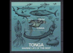 Tonga Blockausgabe Anglerfisch, Tiefsee Mi.-Nr. Block 6 A gezähnt **