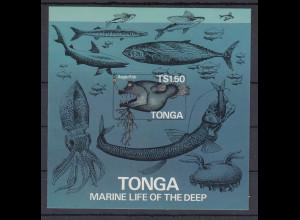 Tonga Blockausgabe Anglerfisch, Tiefsee Mi.-Nr. Block 6 B geschnitten **