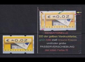 Deutschland ATM Briefkasten Vordruck mit Passerverschiebung der roten Farbe !