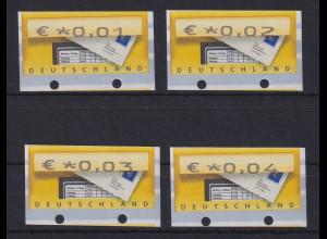Deutschland ATM Briefkasten 4 Werte 0,01-0,02-0,03-0,04 alle UGL **