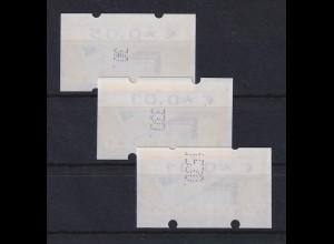 Deutschland ATM Briefkasten 3 Marken mit verschieden großen Zählnummern, **