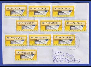 Deutschland ATM Briefkasten MIF aller Werte 0,01 - 0,10 auf Brief, portogerecht