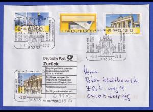 Deutschland ATM 3 Fehdrucke auf unzustelbarem Brief, Sonder-O München 2010