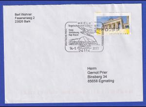 Deutschland ATM Berliner Tor Wert 55 OGL auf Brief mit So-O Kiel Gorch Fock 2011