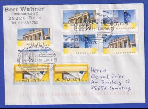 Brief mit Sonder-O HAMBURG mit 6 verschiedenen ATM-Fehldrucken, 2009