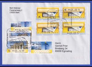 Brief mit Sonder-O KIEL Gorch Fock mit 6 ATM-Fehldrucken + Totalverschnitt 2011