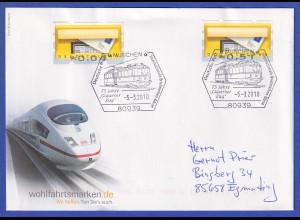 ATM Briefkasten, Fehldruck Werte unten *0,04 und *0,54 auf Brief, So.-O München